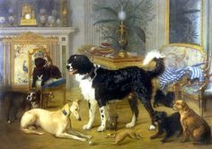 PETS OF THE ROMANOVS ~~ In Tzarskoye Selo museum there is one interesting picture named as 'The Dogs' by I.Shvabe, 1867. The painting presents 11 dogs and one little monkey.  Less known there all are the pets of Alexander II of Russia. Within 300 years the Romanovs loved animals, especially dogs, except Elizabeth I that was a real fan of cats and has got 18 of them in her palaces.