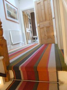 """Tiffanys broad stripe carpet with bright & vibrant colours! Fully fitted last week with a stair runner on the landing. Striped Carpet Stairs, Stairway Carpet, Striped Carpets, Bullnose Carpet Stair Treads, Area Rug Dining Room, Hallway Flooring, Under Stairs Cupboard, Staircase Makeover, Painted Stairs"