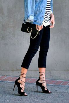 Black lace up heels, black cropped pants, stripes   denim jacket Schwarze  Schnür- 0ad859bf2d