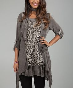 Look what I found on #zulily! Mole Floral Lace Sidetail Tunic & Scarf #zulilyfinds