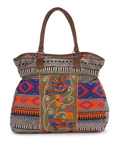 This Ash & Sara Blue & Orange Bird Embroidered Tapered Tote by Ash & Sara is perfect! #zulilyfinds