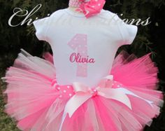Baby Girl 1st Birthday Tutu Outfit Pink Tutu by ChristiCreations