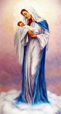 Mary and baby Jesus Blessed Mother Mary, Blessed Virgin Mary, Religious Photos, Religious Art, Birth Of Jesus, Baby Jesus, Jesus Christ Painting, Mama Mary, Catholic Art