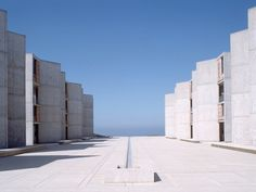 """""""One of the most highly regarded scientific research centres in the world, the Salk Institute sits on a cliff overlooking the Pacific Ocean. Founder Jonas Salk aimed to create an environment that would entice the best researchers from around the world. Kahn helped him to choose the site and created something approaching a secular monastery for science."""""""