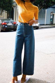 Cropped High Waisted Wide Leg Pants Outfit 2019 Source by Fashion outfits Fashion Moda, 70s Fashion, New York Fashion, Look Fashion, Autumn Fashion, Fashion Outfits, Fashion Trends, Fashion Ideas, Jeans Fashion