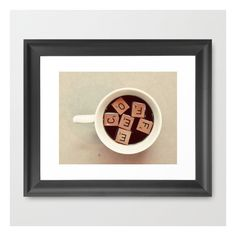 Coffee Framed Art Print ($35) ❤ liked on Polyvore featuring home, home decor, wall art, framed art prints, black framed wall art, framed wall art, black wall art and photography wall art