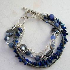 "Best Bracelet Perles 2017/ 2018 : At Midnight Sodalite Four Strand Bracelet -Hematite, Blue Aventurine -Handmade OOAK, 7.25"" , Free US Shipping, Metaphysical Jewelry"