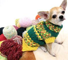Handmade Crochet Clothes Pets Dress Cat Clothing Chihuahua Costume Dog Pinapple D862 Myknitt.  via Etsy.