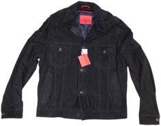 ISAIA NAVY SUEDE LEATHER SUEDE LEATHER JACKET/ COAT-56/46 US-MADE IN ITALY #ISAIA #JACKET