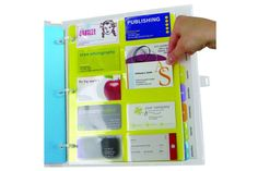 Business Card Page - #business #businesscard  Business card page is made from 100% recyclable polypropylene and fits all standard three ring binders.   Ten pockets per page to hold up to 20 business cards. Pockets hold both US and European card sizes.