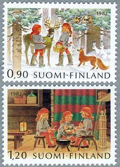 ◇Finland  1982 Postage Stamp Design, Postage Stamps, Christmas Art, Vintage Christmas, Xmas, Good Old Times, Love Stamps, Pretty Cards, Fauna