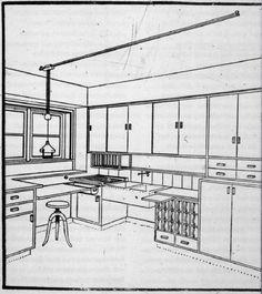 Margarete Schütte-Lihotzky | Frankfurter Küche | Cocina Frankfurt | diseñada para la Siedlung Römerstadt de Ernst May | 1926