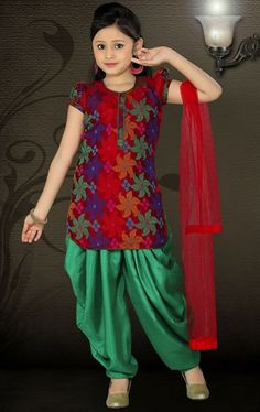 picture of attractive maroon color kids patiala suit - Images To Color For Kids