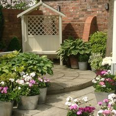 Top patio, arbour and pots June Arbour, Sunrooms, Shade Garden, Beautiful Gardens, Porches, Bliss, Garden Ideas, Shabby Chic, June