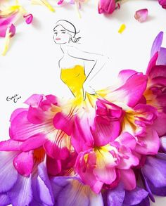59 ideas fashion drawing dresses sketches grace ciao for 2019 Arte Fashion, Floral Fashion, Fashion Mode, Fashion Drawing Dresses, Fashion Illustration Dresses, Dress Fashion, Flower Petals, Flower Art, Flower Girls