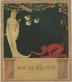 """Illustrations by George Barbier (1882-1932), 1922, Vie de Bilitis, """"Les chansons de Bilitis"""", woodcuts by F.L.. Schmied, text by Pierre Loüys, Collection Pierre Corrard, Paris"""
