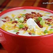 Baked potato soup! Dinner tonight.. Yum! Adding the left over Easter ham..