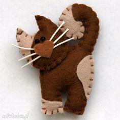 Pomysł święta upominki? Kotek broszka filcu broszki tinyart kot