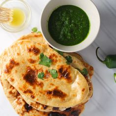 Homemade Naan with Mint Cilantro Chutney - A Green Spicy Indian Dipping Sauce