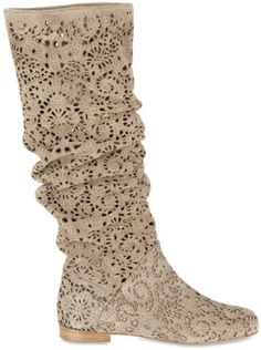 Peter Flowers Laser cut Velour Pull on Boots... pseudo lacey & see through
