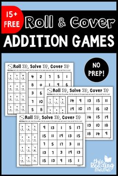 These NO PREP Addition Games are a fun way to get kids practicing their addition math facts! This is the FIRST PACK in our No Prep Math Games Series. You can find ideas on how to use these games… Math Addition Games, Fun Math Games, 1st Grade Math Games, Dice Games, Mental Maths Games, Addition And Subtraction, First Grade Addition, Second Grade Math, Grade 2