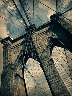 The Brooklyn Bridge is one of the oldest suspension bridges in the United States. Completed in it connects the boroughs of Manhattan and Brooklyn by spanning the East River. Brooklyn Nyc, Brooklyn Bridge, Oh The Places You'll Go, Places To Travel, Voyage New York, North Shore Oahu, Photo Deco, Manhattan Bridge, Empire State Of Mind