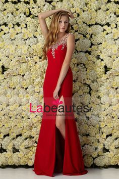 2015 Mermaid Prom Dresses Scoop Chiffon With Slit And Beads Sweep Train USD 169.99 LP6H7TKPM - Labeautes.com