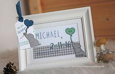 Geschenk Baby Rahmen zur Geburt personalisiert mit Name und Geburtsdaten Stampin Up