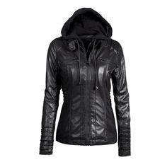 Removable Collar Zipper Womens Jacket Hoodie