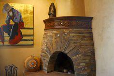 Love this adobe fireplace Adobe Fireplace, Fireplace Mantels, Fireplace Ideas, Fireplaces, Hacienda Homes, Hacienda Style, Southwestern Home Decor, Southwest Style, Western Decor