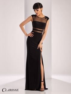 Clarisse Sheer and Lace Detail Elegant black Prom Dress and evening gown style 3110. With a side slit! | Promgirl.net