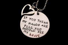 If you think my hands are full you should see my heart - Hand stamped necklace - Mother - mother to be - mother of multiples - twins