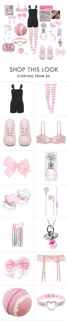 """"""""""" by daddysharleyquinn ❤ liked on Polyvore featuring adidas, Victoria's Secret, Urbanears, Kevin Jewelers, La Perla, Baby Bling, ddlg, littlespace, daddydom and cgl"""