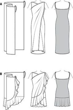 Burda Style Beach Dress Hard to believe: a rectangular piece of fabric with side buckles turns into a fancy, backless sun wrap. Variant B with added flounce gives special swing. could use this pattern for wrap around towel. Diy Clothing, Sewing Clothes, Clothing Patterns, Sewing Patterns, Dress Sewing, Sewing Tutorials, Sewing Hacks, Sewing Projects, Robe Diy