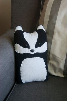 Badger Woodland Plush Stuffed Animal Pillow - Nellie - Made to Order. $35.00, via Etsy.