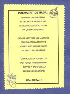Poema NIT DE NADAL Christmas Arts And Crafts, Xmas Crafts, Christmas And New Year, Christmas Time, Christmas Decorations, Tio Nadal, Catalan Language, Action Songs, Conte