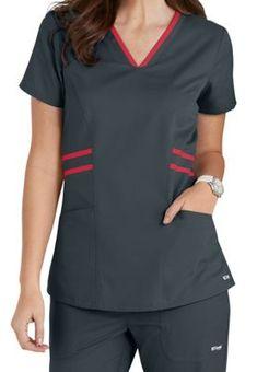 Grey's Anatomy Marquis Contrast Trim V-neck Scrub Tops Scrubs Outfit, Scrubs Uniform, Greys Anatomy Men, Grey's Anatomy, Medical Scrubs, Contrast Collar, Costume, Scrub Tops, Rain Wear