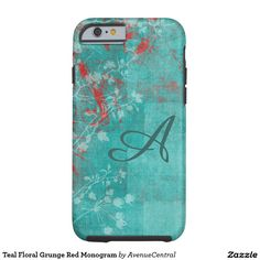 Red Floral on Teal Grunge Monogram Tough iPhone 6 Case by AvenueCentral