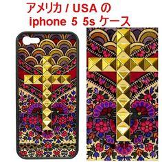 wildflower ワイルドフラワー アメリカ フラワー クロス スタッズ Flora Royalle Gold Studded Cross iPhone 5 5s Case アイフォン ファイブ ケース  スタッヅ スタッズケース 在庫限り 花柄 ピラミッド スタッツ すまふぉ iphone5s iphone5 iphne5s 海外 ブランド