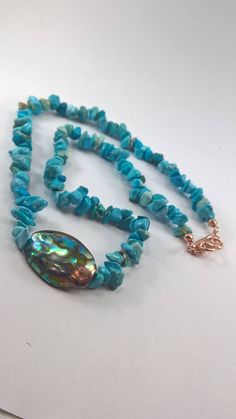 Abalone necklace, Turquoise and Abalone Necklace with Rose Gold plated clasp, Turquoise necklace, Abalone shell necklace, jewelery,
