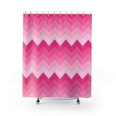 HOT PINK CHEVRON Shower Curtain Girls Bathroom Decor
