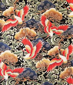 Asian Japanese Fabric of Majestic Cranes by AsianFabrics # Japanese Drawings, Japanese Paper, Japanese Painting, Japanese Fabric, Japanese Artwork, Chinese Patterns, Japanese Patterns, Japanese Textiles, Japanese Prints