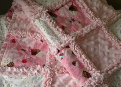 """Rag Quilt Baby Girl Robert Kaufman Little by flutterflybaby - wanna learn this whole """"ragging"""" concept!!!"""