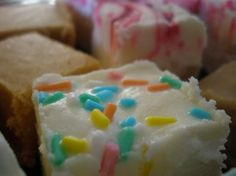 Funfetti Fudge from Food.com:   From Pillsbury Book. Cook time is fridge time