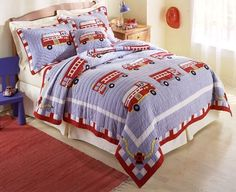 FIRE TRUCK Full Queen QUILT SET : BOYS ENGINE FIREMAN FIREFIGHTER BED COMFORTER #MyWorld #QuiltSet