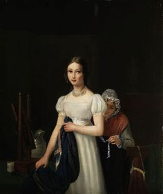 Cornelis van den Gaal, Young Girl Dressing in White Dress, c. 1826 << Dutch painter known for portraiture; note the high waistline and moderate neckline on subject's dress, as well as mob cap on maid assisting her.