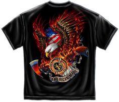Erazor Bits T-Shirt - Fire Fighter -Patriotic Fire Eagle - Black  Firefighter Shirts 5188af435