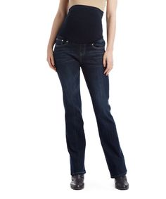 Bella Vida Dark Blue Galaxy Maternity Bootcut Jeans - Plus Too