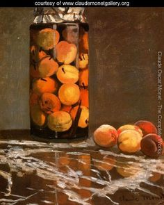 Jar of Peaches by Claude Monet in oil on canvas, done in Now in The Staatliche Kunstsammlungen Dresden. Find a fine art print of this Claude Monet painting. Monet Paintings, Impressionist Paintings, Original Paintings, Claude Monet, Pierre Auguste Renoir, Oil Canvas, Canvas Art Prints, Peach Paint, Impressionism Art