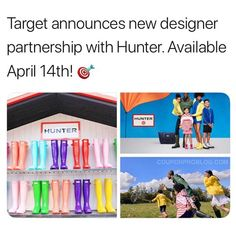 Target just announced a NEW designer partnership with Hunter. Most items will be under $30. Available April 14th! Go to CouponProBlog.com for more details! 😮❤️☔️